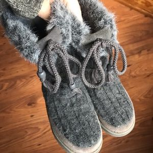 Grey Faux Fur Boots